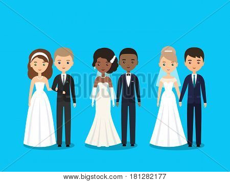 Bride and groom. Vector flat people characters. Cartoon couple newlyweds isolated on blue background. Women in wedding dresses and men in suits. Icons male female.