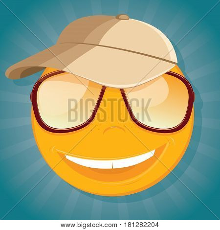 Fun smiley with sunglasses and a baseball cap. Vector illustration.