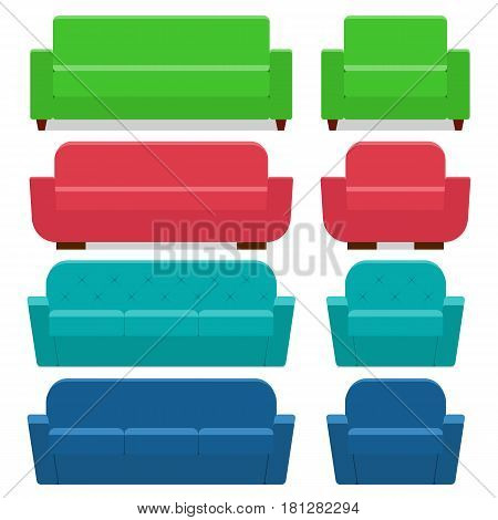 Sofas and armchairs in flat design. Vector. Furniture for living room. Cartoon couch.