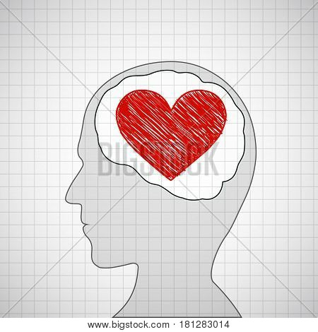 Human head with a red heart inside. Stock vector illustration.
