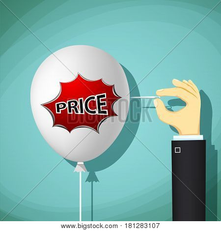 Human hand with a needle bursts a balloon with the word price. Sale and Black Friday. Stock Vector cartoon illustration.