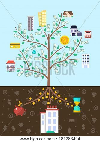 Investment in real estate banner with money tree vector illustration. Financial growing, property investment, buying and renting commercial building, property management and development