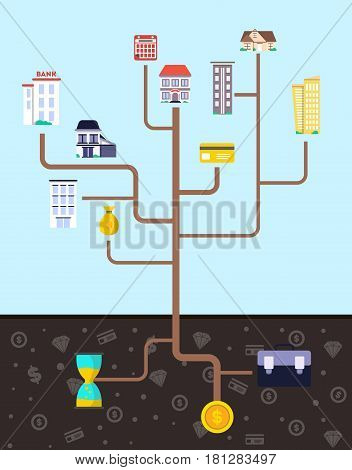 Investment in real estate infographic vector illustration. Design concept for property investment, buying and renting commercial building, property management and development, save and grow money