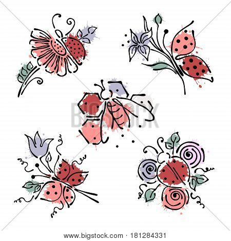 Set Of Vector Illustrations Of Insect. Ladybug, Butterfly, Bee, Apis, Petal, Flowers, Leaves On The