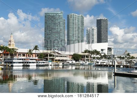 Calm reflective waters in Miami downtown marina (Florida).