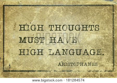 High Thoughts Aristophanes