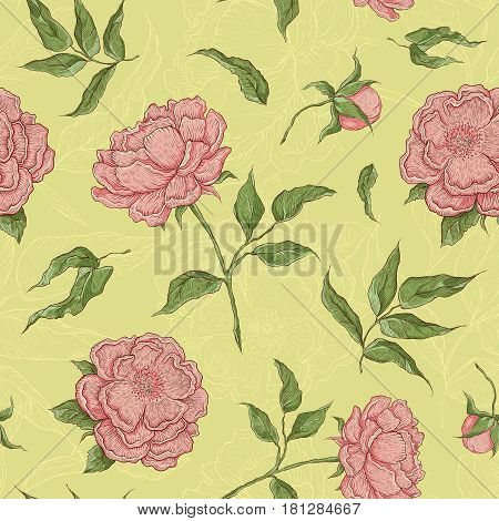 Vector seamless pattern flowers. Blooming peony with an open and a closed bud, leaves and twigs. Graphic illustration for wallpaper or textile.