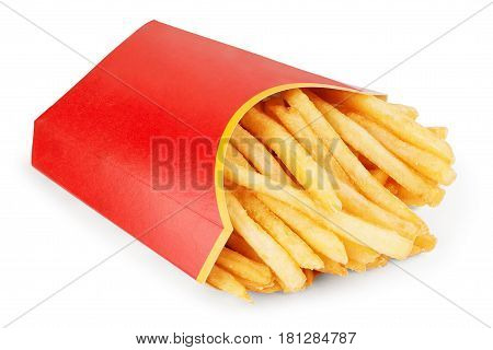 French fries in a red carton box isolated on white