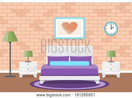 Bedroom interior. Vector flat room. House design background including furniture brick wall and carpet.