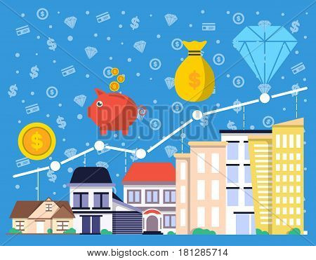 Investment in real estate vector illustration. Financial growing diagram, property investment, buying and renting commercial real estate, property management and development concept