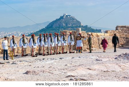 ATHENS GREECE - OCTOBER 12 2013: National Guard of Greece in traditional costumed during military parade on Acropolis on October 12 in Athens.