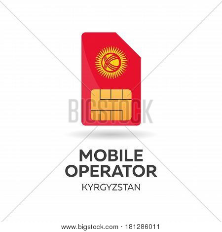 Kyrgyzstan Mobile Operator. Sim Card With Flag. Vector Illustration.