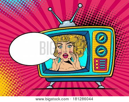 Retro Tv Set With Sexy Surprised Blonde Woman With Wide Open Eyes And Mouth And Rising Hands Screami