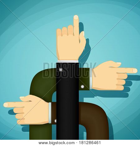 Human hands point the finger the direction. Stock Vector cartoon illustration.
