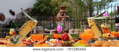 Catering Banquet Table, Buffet With Snacks At The Outdoor Event