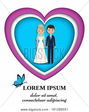 Bride and groom wedding card or invitation in paper art style. Vector flat people characters. Cartoon couple newlyweds on blue background. Icons male female.