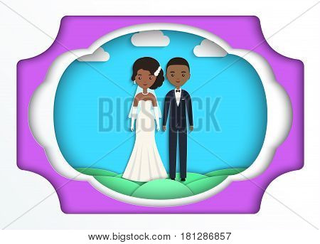 African American bride and groom in paper art style. Vector flat people characters. Cartoon couple newlyweds on blue background. Origami design. Icons male female.