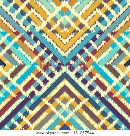 Seamless geometric pattern, based on ikat fabric style.