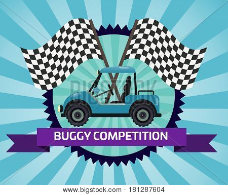 Buggy rally competition banner with checkered flag vector illustration. Outdoor auto ride, extreme terrain vehicle sport, dune buggy race, spectacular 4x4 motor show, off road trophy championship.