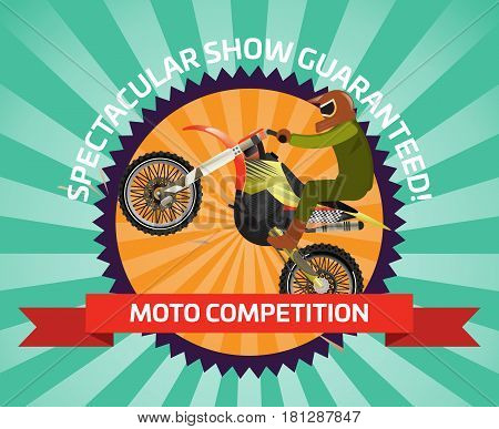 Extreme motocross ride banner vector illustration. Outdoor rally show, moto championship, extreme freestyle motocross, speed motorcycling, off road sport competition. Logo with bike professional rider