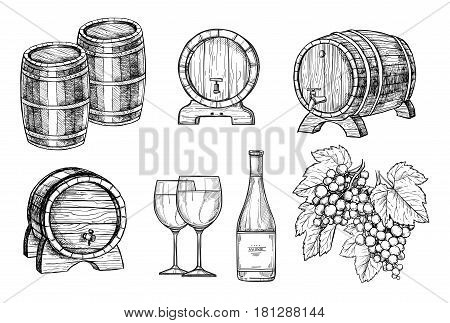 Wine making hand drawn set vector illustration. Bottle of wine, wooden wine barrel, wineglass and bunch of grapes sketches isolated on white background. Classic alcoholic drink outline icons