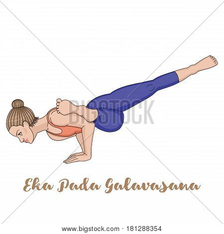 Women silhouette. Flying Pigeon yoga pose. Eka Pada Galavasana Vector illustration