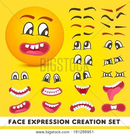 Face expression creation set isolated vector illustration. Eyes, mouth and eyebrows collection, cute smiley face constructor. Cartoon emoticon, comic yellow faces, emoji characters.