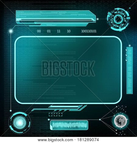 HUD interface. Futuristic dashboard with screen devices. Stock vector illustration.