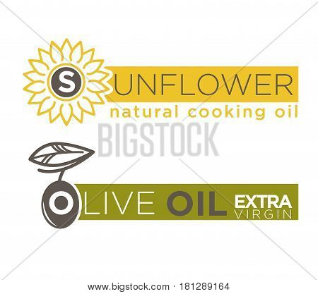 Olive and sunflower oil product logos templates. Extra virgin natural cooking oil vector isolated design for bottle package labels