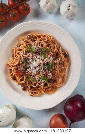 Italian spaghetti in ground beef and tomato bolognese sauce