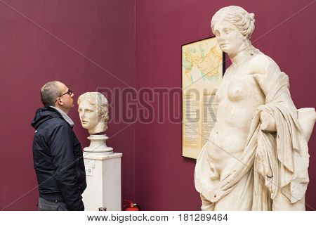 ISTANBUL, TURKEY - 4 APRIL , 2017: Museum of Archeology in Istanbul, ancient exhibits of ancient empires inhabiting the territory of present-day Turkey