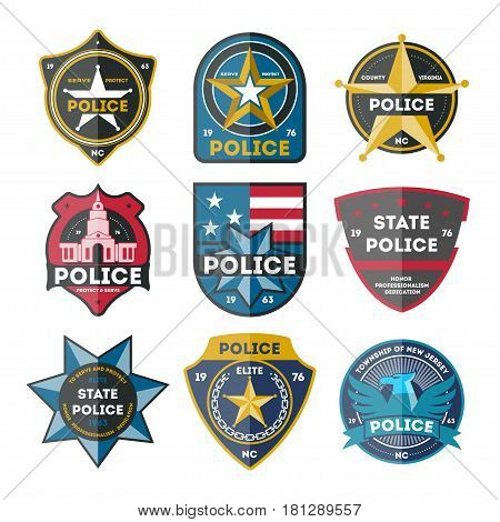 Police department badge set isolated on white background vector illustration. Federal security emblem, policeman officer symbol, usa sheriff star, state detective label, cop sign in flat design.