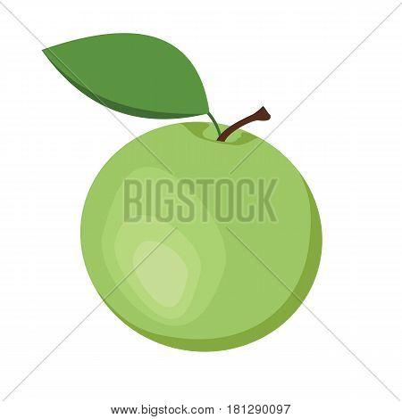 Apple. One green apple fruit. Vector illustration.