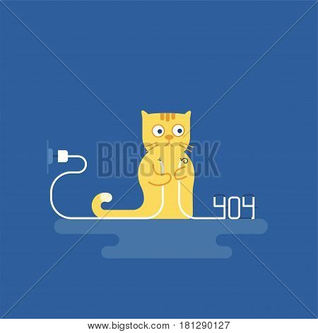 The cat tore the wire. 404 error. Vector illustration of cartoon character. Modern flat style.