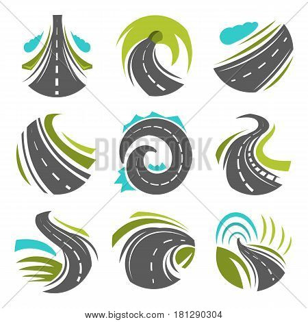 Road logo templates and highways with traffic marking. Symbols of curved way turns with tunnels. Vector isolated icons set for travel or construction infographics elements