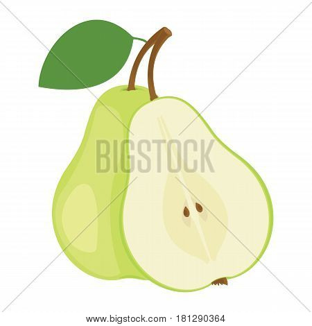 Pears. One and a half green pear fruit. Vector illustration.