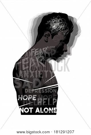 A man experiencing feelings of fear anxiety and depression. Mental Health vector illustration.