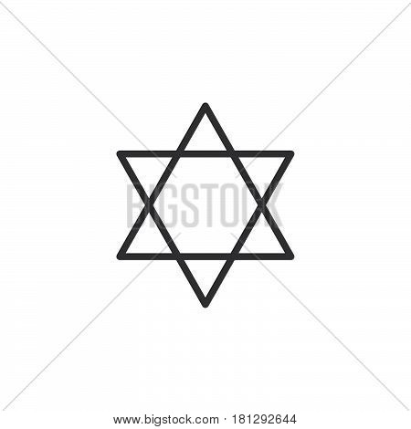 Star of David line icon outline vector sign linear style pictogram isolated on white. Symbol logo illustration. Editable stroke. Pixel perfect