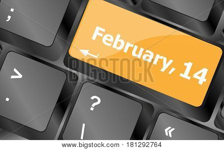 Computer keyboard key - 14 february on enter button