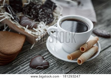Coffee Break, Breakfast. Cup Of Coffee With Biscuit Cookies