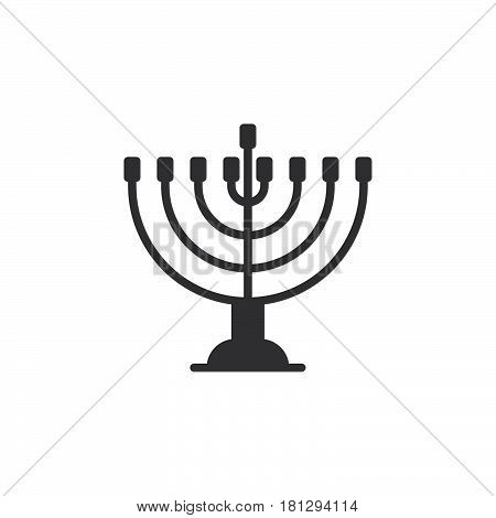 Hanukkah menorah icon vector filled flat sign solid pictogram isolated on white. Symbol logo illustration. Pixel perfect