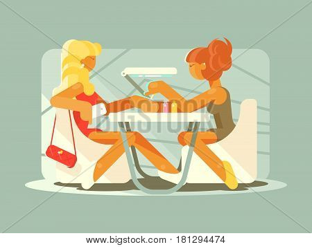 Young girl doing manicure in beauty salon. Vector flat illustration