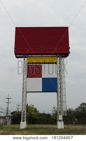 Red Blank bill board for advertisement with cloudy sky