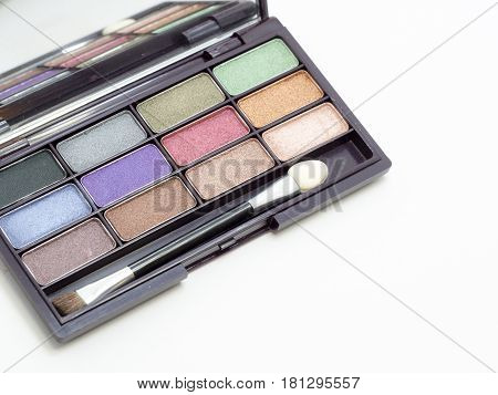 close up eyeshadow makeup The eyeshadow have colorful palette of eyeshadow