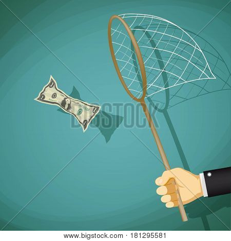 Man catches with net a dollar bill. Stock vector illustration.