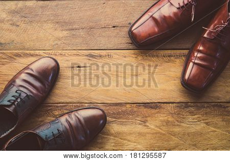 Leather shoes on the wooden floor for businessman