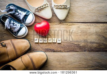Heart shoes for family. For the love of a family whose parents show warmth and care.