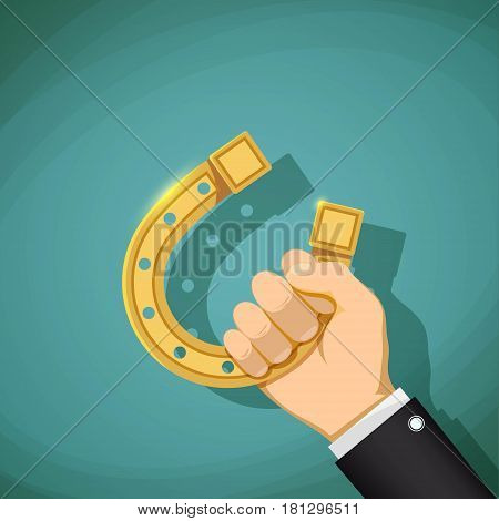 Human hand holding a gold horseshoe. Talisman for good luck. Stock vector illustration.