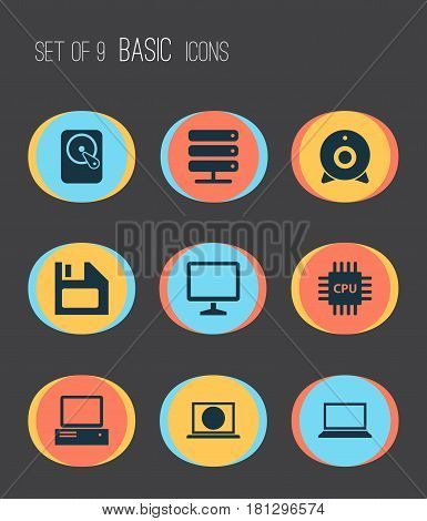 Laptop Icons Set. Collection Of Hdd, Laptop, Web And Other Elements. Also Includes Symbols Such As Server, Camera, Monitor.
