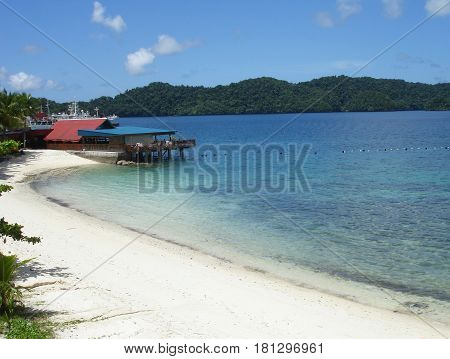 Riptide Beach, Koror, Palau A stretch of white, soft sandy beach